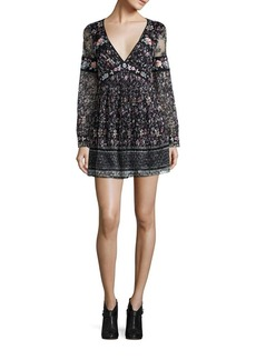 Free People Cherry Blossom Embroidered Mini Dress
