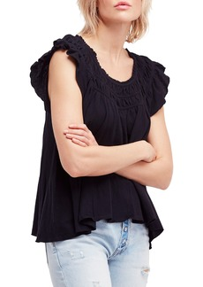 Free People Coconut Gathered Top