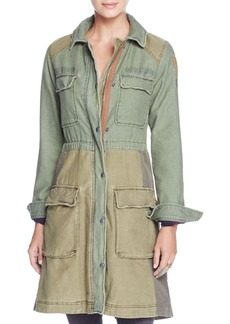 Free People Color Block Military Coat