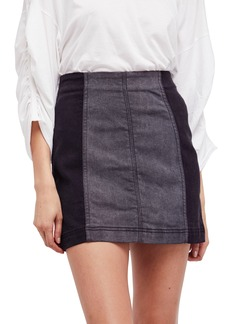 Free People Colorblock Denim Miniskirt