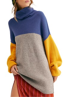 Free People Colorblock Turtleneck Sweater