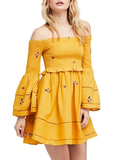 Free People Counting Daisies Embroidered Off the Shoulder Dress