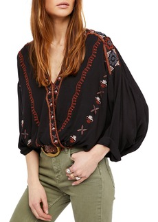 Free People Crescent Moon Embroidered Blouse