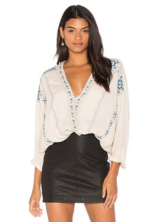 Free People Crescent Moon Embroidered Blouse in White. - size L (also in XS,S,M)
