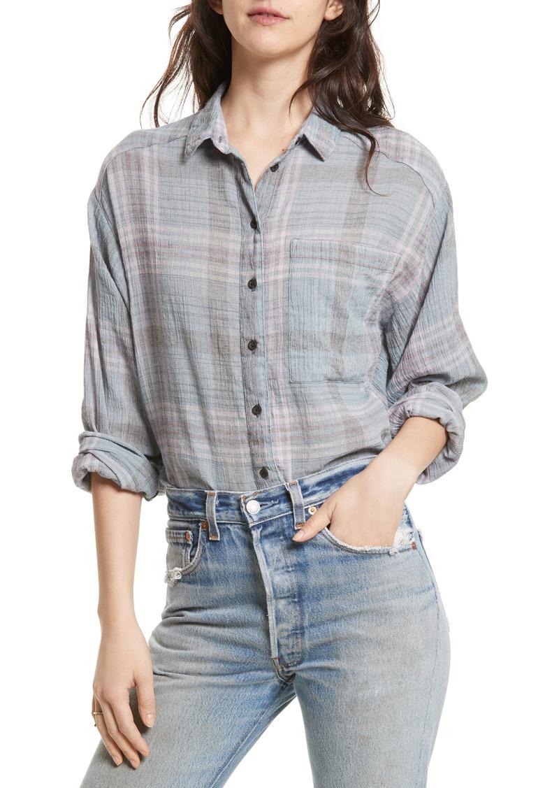 Free People Cutie Plaid Button Down Shirt