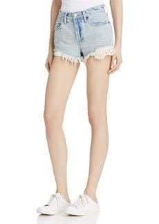 Free People Daisy Chain Crochet-Detail Denim Shorts
