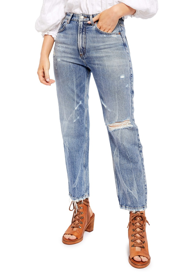 Free People Dakota Ripped Straight Leg Jeans (Vintage Indigo)