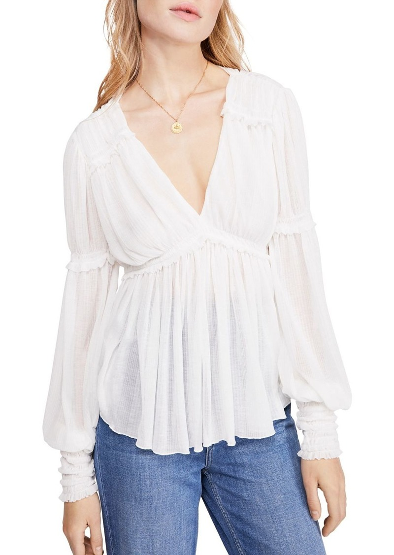 Free People Day Dreaming Balloon-Sleeve Top