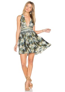 Free People Daydream Mini Printed Dress in Black. - size L (also in M)