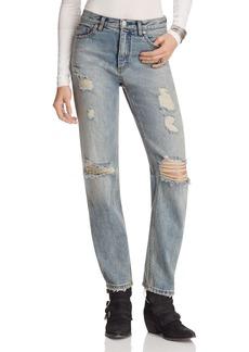Free People Destroyed Boyfriend Jeans in Denim Blue