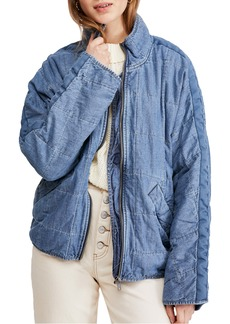 Free People Dolman Sleeve Quilted Denim Jacket