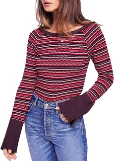 Free People Donna Striped Rib-Knit Tee