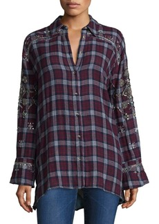 Free People Downtown Romance Embroidered Shirt