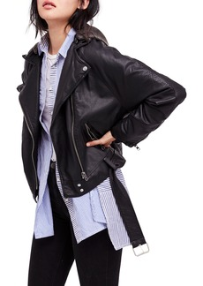 Free People Drapey Faux Leather Moto Jacket
