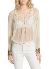 Free People Dream Cuff Blouse