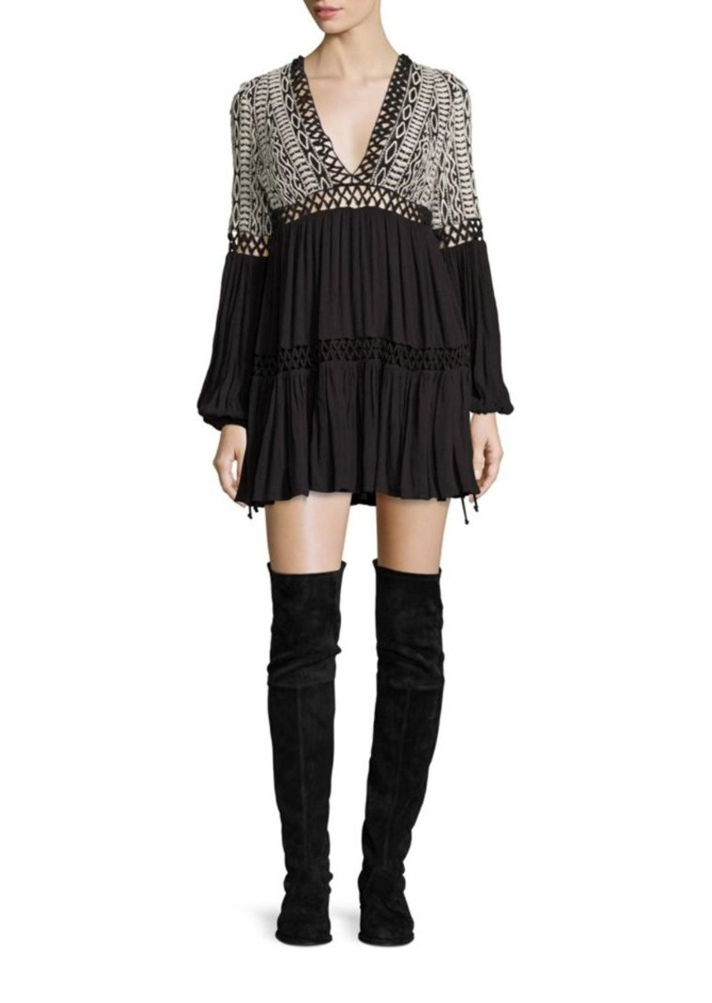 Free People Dusk Till Dawn Embroidered Mini Dress