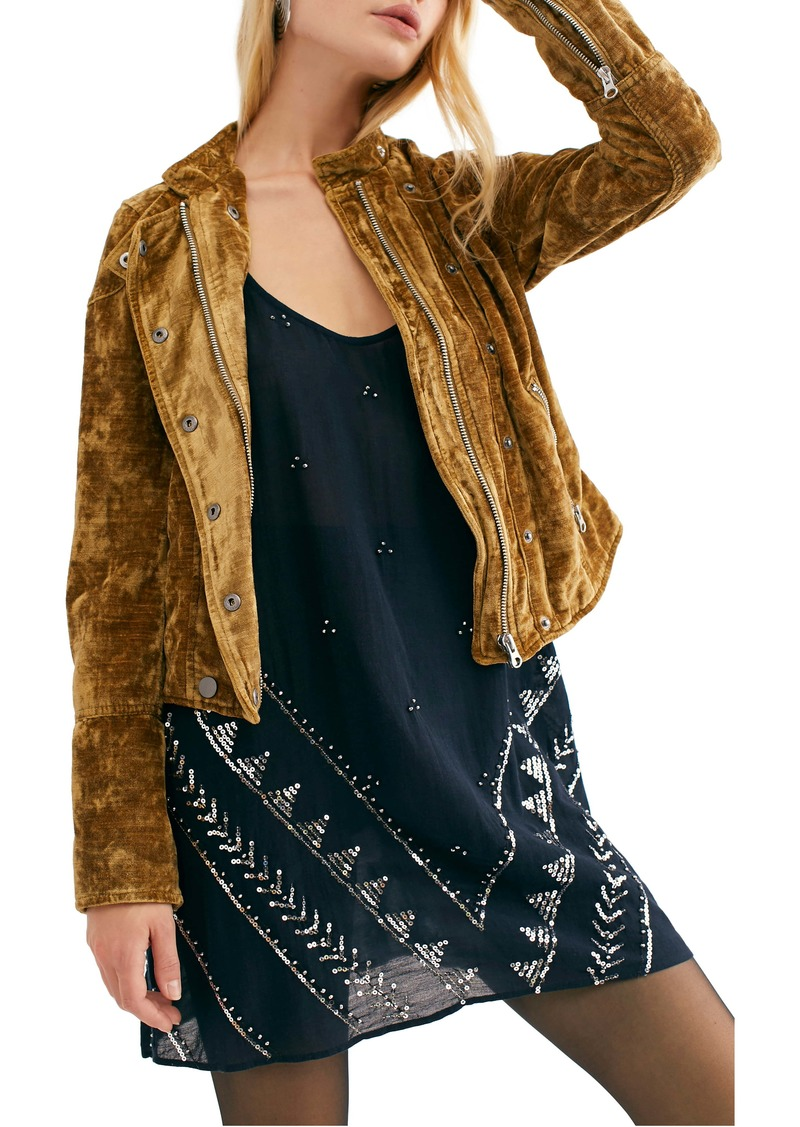 Free People Dusk Till Dawn Velvet Moto Jacket