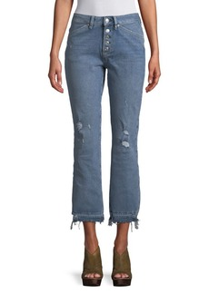 Free People Dylan Distressed High-Rise Cropped Jeans