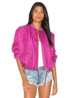Free People Easy Quilted Bomber in Pink. - size L (also in M,S,XS)
