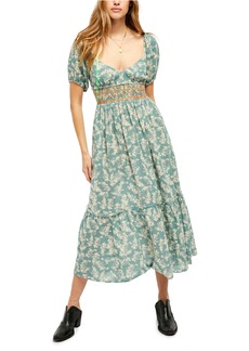 Free People Ellie Print Smocked Midi Dress