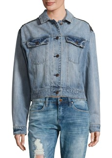 Free People Embroidered Cotton Denim Jacket