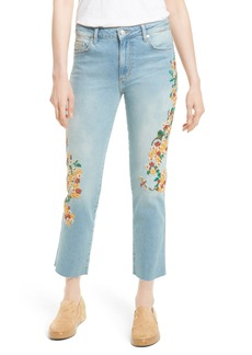 Free People Embroidered Crop Girlfriend Jeans