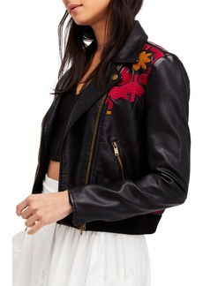 Free People Embroidered Faux Leather Moto Jacket
