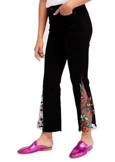 Free People Embroidered Lace Flare Jeans