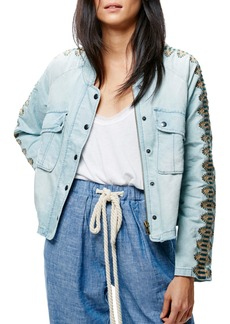 Free People Embroidered Linen & Cotton Jacket