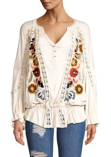 Free People Embroidered Long-Sleeve Top