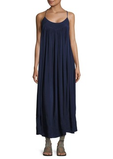 Free People Embroidered T-Back Crinkle Dress