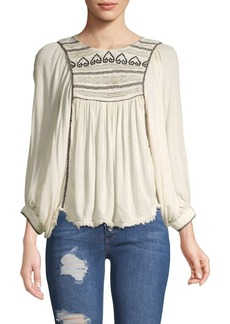 Free People Embroidered Three-Quarter Sleeve Top