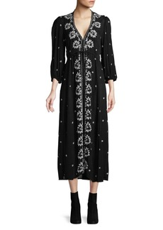 Free People Embroidered V-Neck Tied Midi Dress