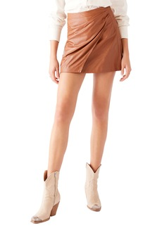 Free People Fake Out Faux Leather Faux Wrap Skirt