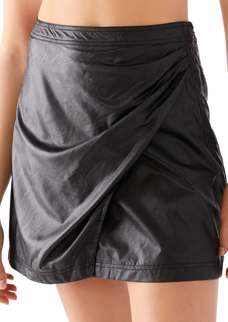 Free People Fake Out Faux Leather Wrap Skirt