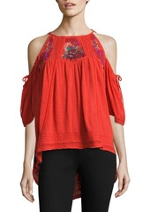 Free People Fast Times Cold-Shoulder Embroidered Top