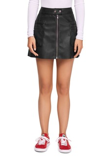 Free People Faux Leather A-Line Mini Skirt