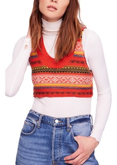 Free People Fields of Fair Isle Crop Sweater Vest