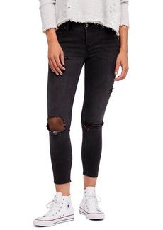 Free People Fishnet Crop Skinny Jeans