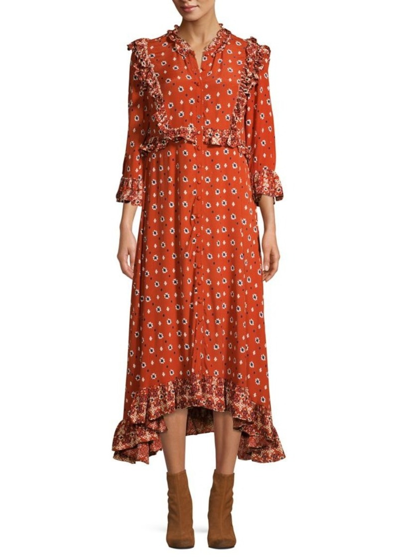 Free People Floral-Print Ruffled High-Low Dress