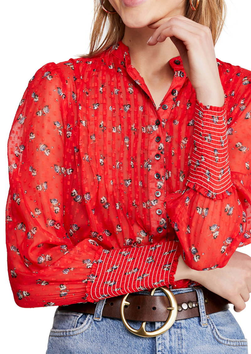 Free People Flowers in December Print Sheer Blouse