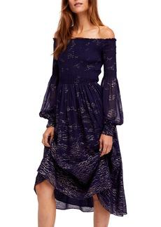 Free People Foiled Smocked Midi Dress