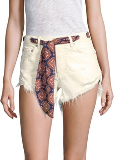 Free People Frayed Denim Shorts with Belt