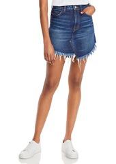 Free People Frayed Hem Jean Skirt in Indigo Blue