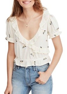 Free People Full Bloom Embroidered Ruffle-Trim Top