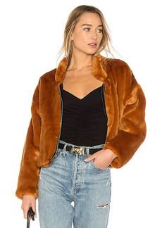 Free People Furry Bomber Jacket in Burnt Orange. - size M (also in S,XS)