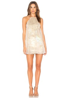 Free People Ghost Mini Dress in Metallic Gold. - size 0 (also in 2,4,6,8)