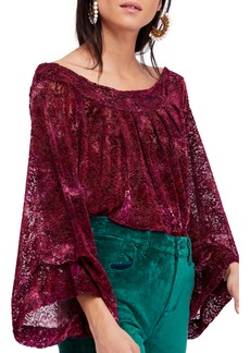 Free People Ginger Berry Off the Shoulder Velvet Top