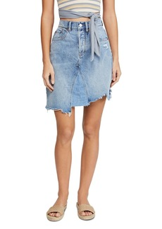 Free People Going Rogue Asymmetric Denim Skirt in Washed Denim