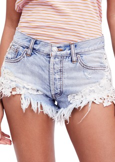 Free People Good Vibes Lace Hem Denim Shorts